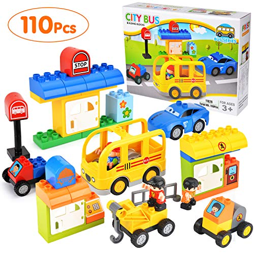 Town Bus - Victostar Town Truck & City Bus Building Blocks Set Educational Toy for Kids-110PCS