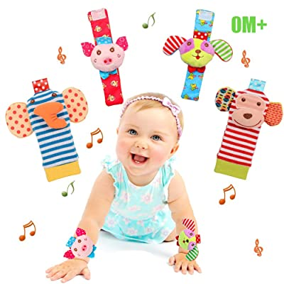 Bloobloomax Baby Soft Rattle, 4 Cute Animal Baby Infant Wrists Rattle and Foot Rattles Finders Socks Set Developmental Soft Toys for Newborn: Toys & Games