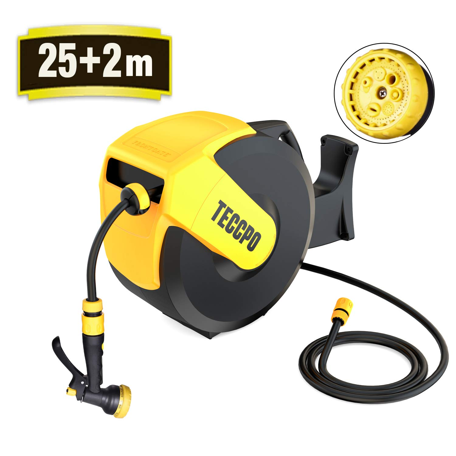 TECCPO Hose Reel, 25m + 2m Auto Reel, with 7 Modes Hose Spray Gun, Any Length Lock, Safe and Slow Retraction, Wall-Mounted Hose Reel Rotating 180° -TAR001G