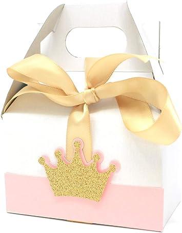All About Details - Caja de regalo con diseño de corona de princesa, 10 sets, caja de regalo, decoración para fiestas, cumpleaños, baby shower, Rosa claro y dorado., 1: Amazon.es: Salud y