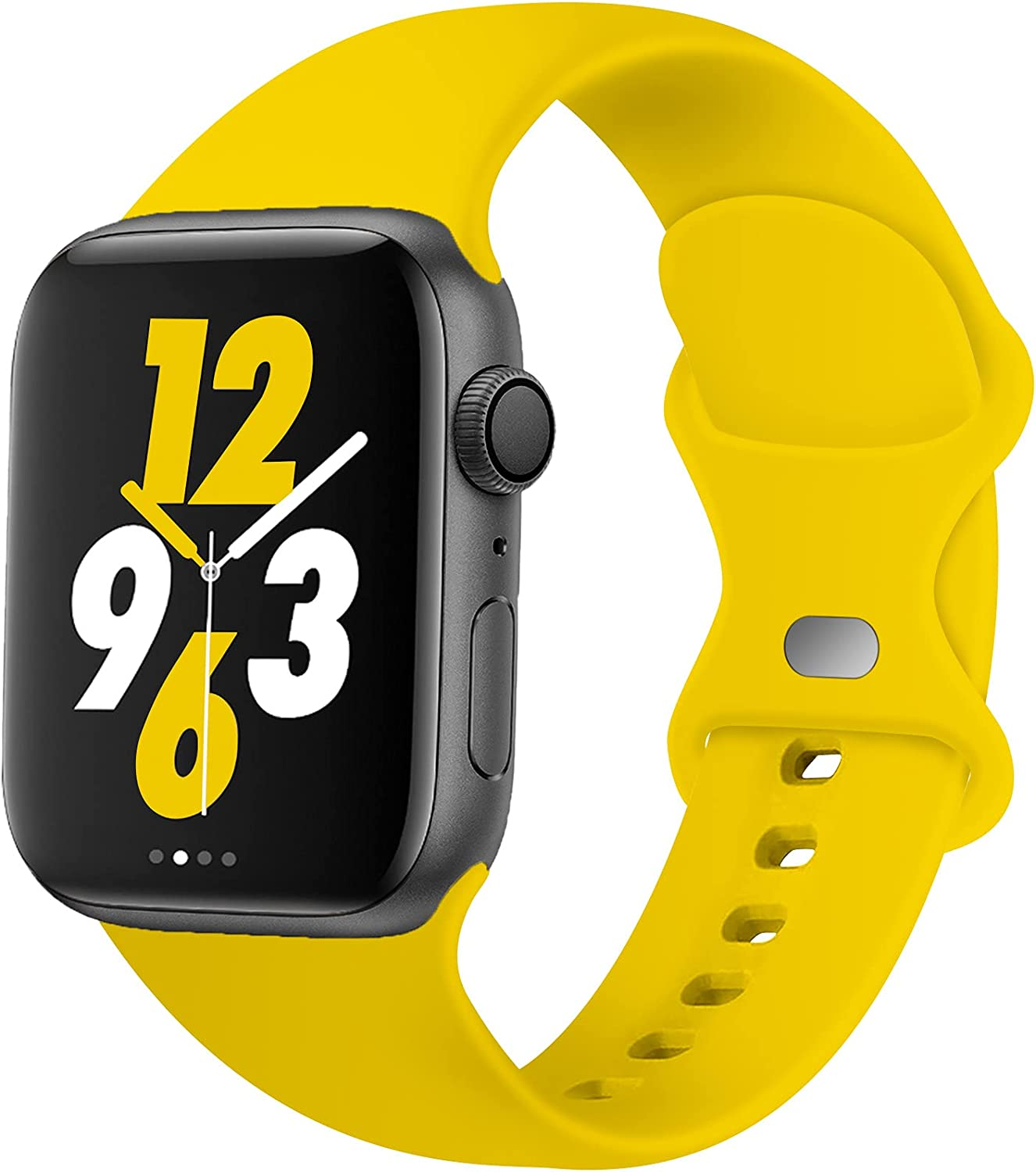 Acrbiutu Bands Compatible with Apple Watch 38mm 40mm 42mm 44mm, Replacement Soft Silicone Sport Strap for iWatch SE Series 6/5/4/3/2/1 Women Men, Yellow 42mm/44mm M/L