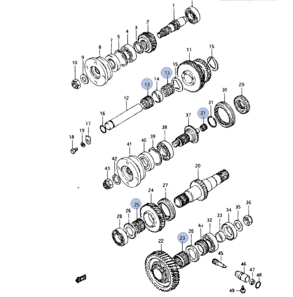 29983-84858 Kit riparazione ricostruire revisione Cuscinetti a Rulli Sfera Ingranaggi riduttore Trasferimento di Trasmissione