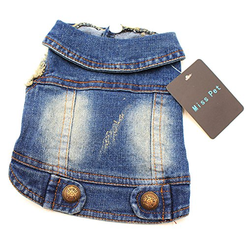 MISSPET Soft Blue Jeans Denim Cute Pet Dog Puppy Coat Jacket Clothes Costume Apparel Hoodies for Small Medium Dogs…