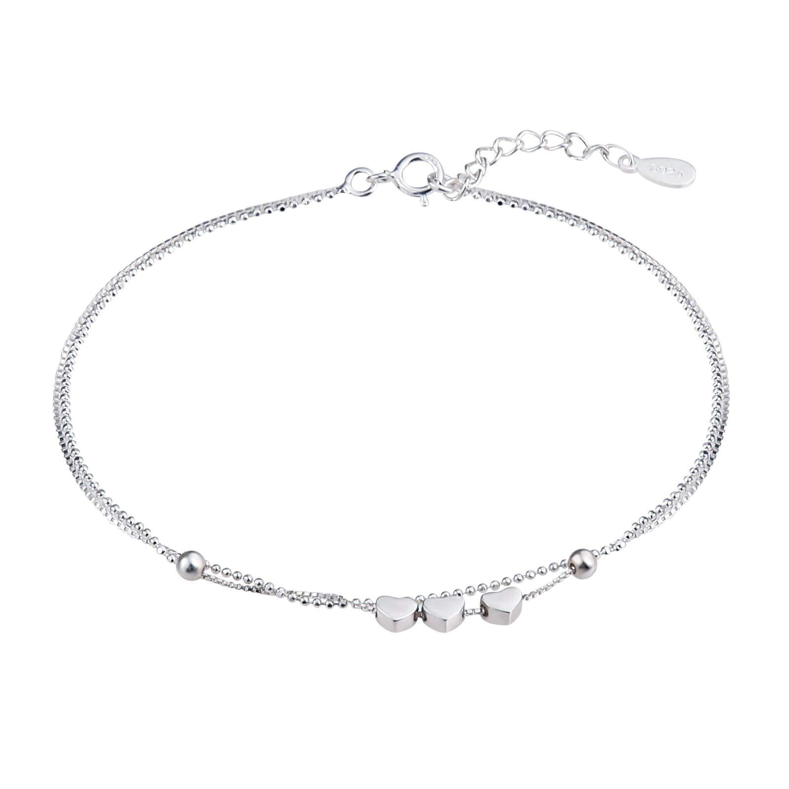 Beydodo Ankle Bracelet Sterling Silver Heart Anklet Chain Barefoot Double Chain Heart