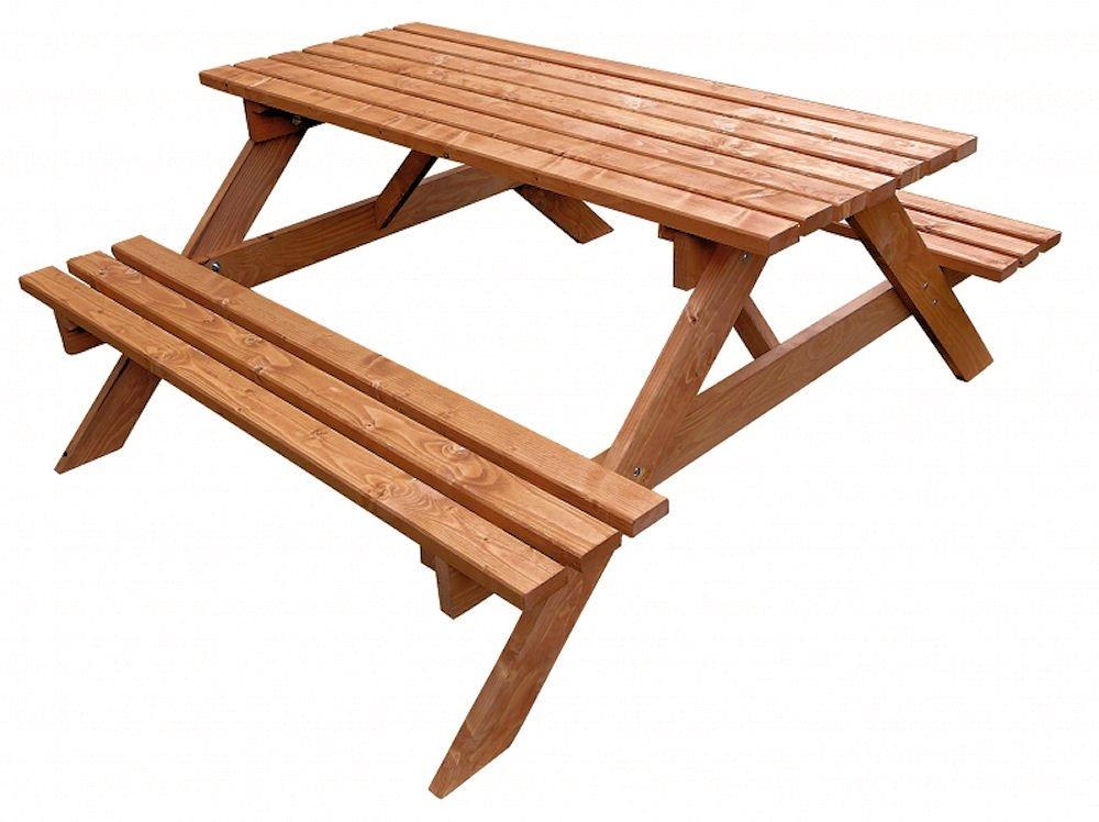 Massivholz Picknickset Sitzgruppe , Gartenbank + Gartentisch , Fb. Teak