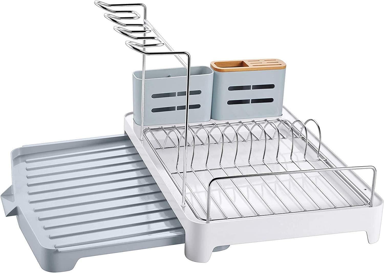 QXX Soportes para Platos con Bandeja de Goteo y desag/üe Giratorio,Escurridor de Platos de Aluminio