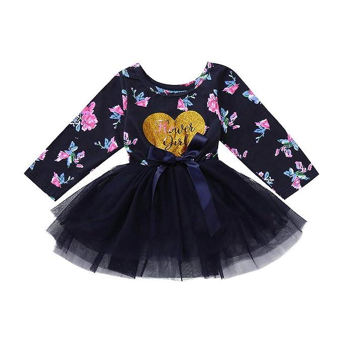 3b8ee647a Tenworld B Baby Girls Flowers Romper Tutu Dresses Longsleeve Jersey Dress  3-18M: Amazon.ca: Clothing & Accessories