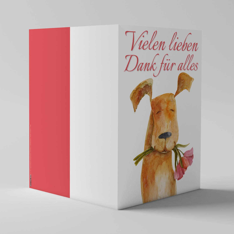 A4 XXL Dankeskarte HUND MIT BLUMEN mit Umschlag edle Klappkarte geeignet für alle Anlässe Geburtstag Hochzeit Jubiläum Danke Karte von BREITENWERK KRÖGER MARKETING