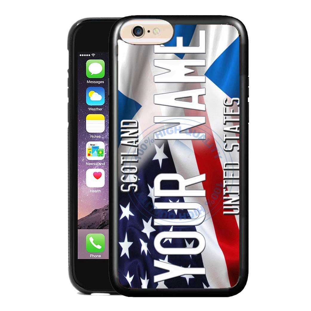 BRGiftShop Personalize Your Own Mixed USA and Scotland Flag Rubber Phone Case For Apple iPhone 8 /& iPhone 7