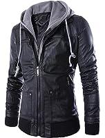 MatchLife Men's Slim Windproof Hooded Biker Cool Zip Up Rock Punk Leather Jackets Coat S M L XL