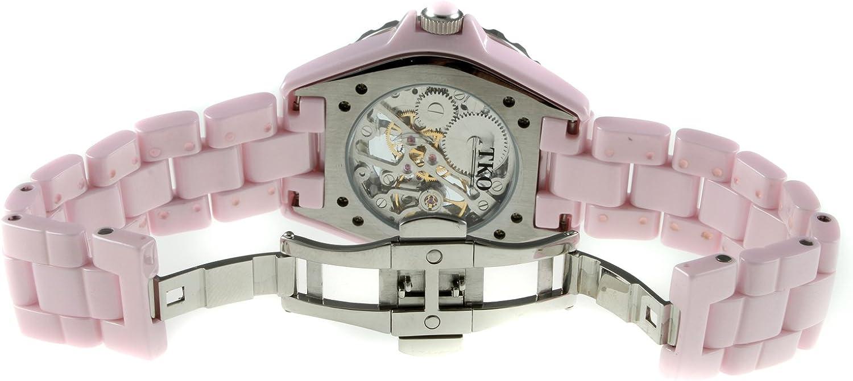 Womens Ceramic Mechanical Skeleton Watch - Hand Wind Up Movement, Dial Crystal Bezel and Ceramic Bracelet Pink