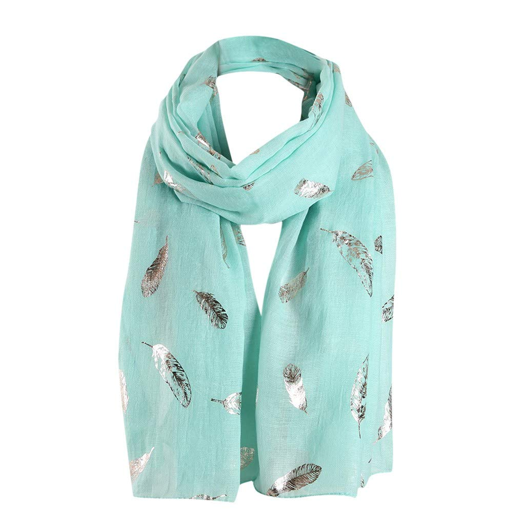 KANGMOON Women Scarf Leaves Infinity Wrap Silk Ladies Shawl Travel Scarves All Seasons (Mint Green)