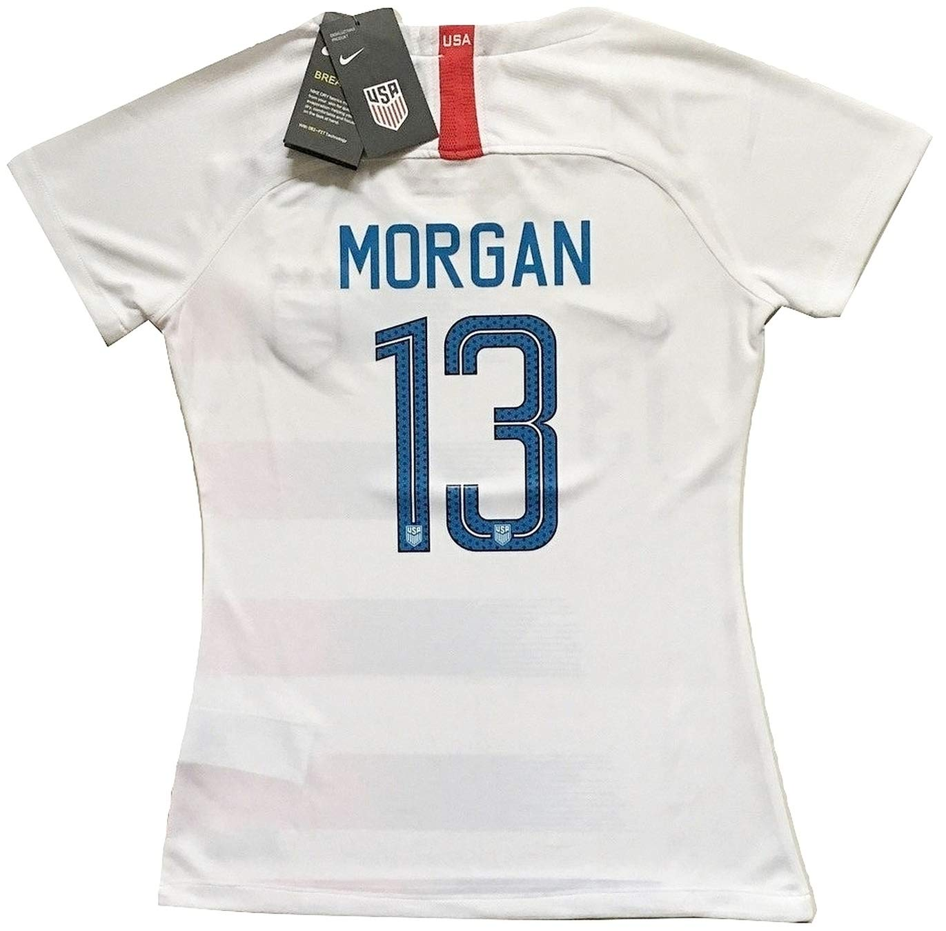 Enevva Slim Fit Morgan #13 Women's USA National Team 2018-2019 Home Soccer Jersey White (Women's Large)