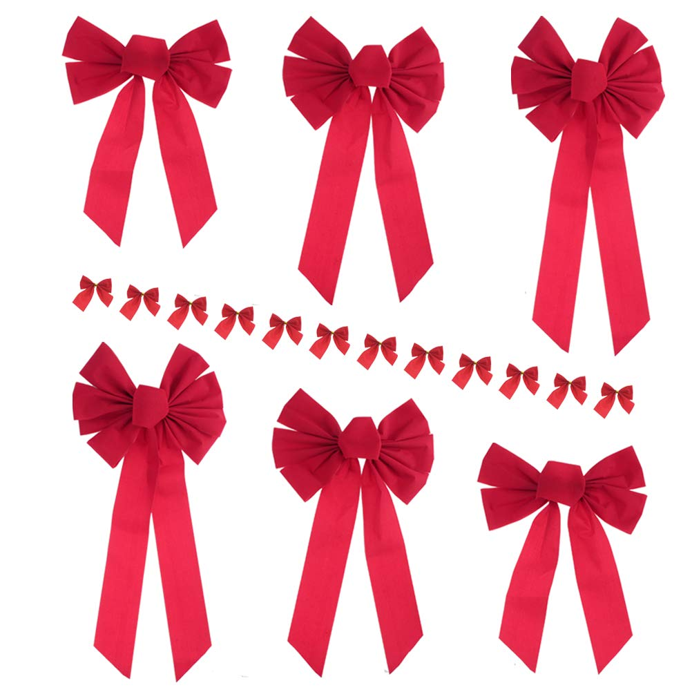 Masonicbuy Large Red Velvet Bow 6 Pack 3 Size Holiday Christmas Bow, 12 Mini Red Ribbon with Gold Foil Tie Back for Party Wreaths Christmas Tree Ornaments Decor (Red)