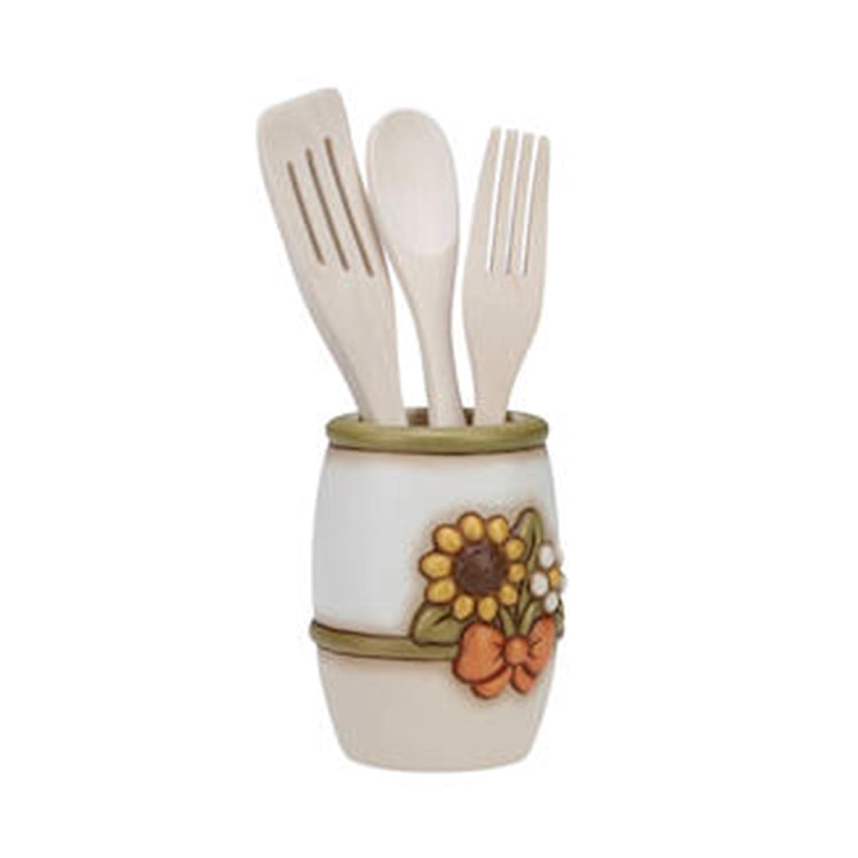 THUN Portamestoli Country con set mestoli ceramica, legno 15,5 cm h