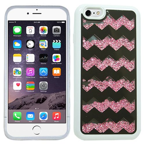 Pink White Chevron Bling Rhinestone Crystal Shaker Case Cover Diamond For Apple iPhone 6 PLUS with Free Pouch