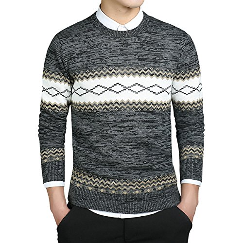 Sugarwewe Men's Casual Ethnic Style Round Neck Knit Sweater Striped Pullover Blk/Grey,XXXL = US Size XL