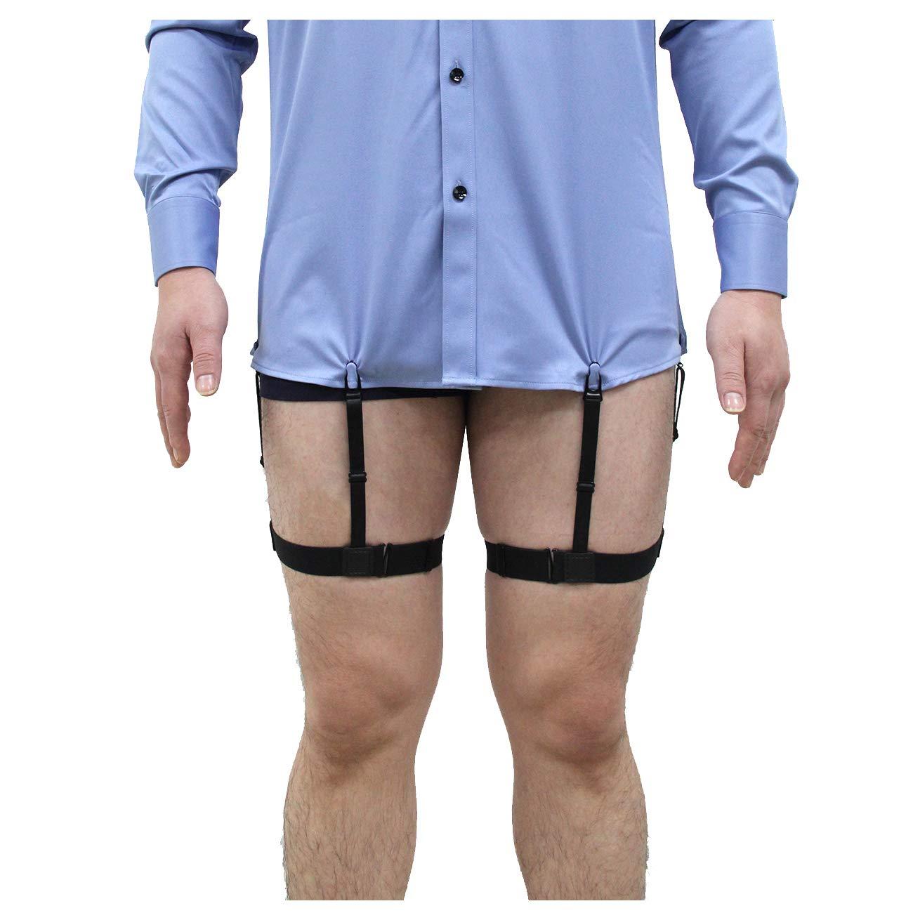 Jelinda Herren Hemd Aufenthalte Bein Schenkel elastisch Strumpfband Sport Straps Gü rtel mit Rutschfest Sperrung Schellen AMWF-H022-K