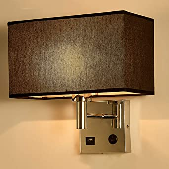 CCSUN E27 Modren Lámpara de pared, Paño Lámpara de pared Con USB ...