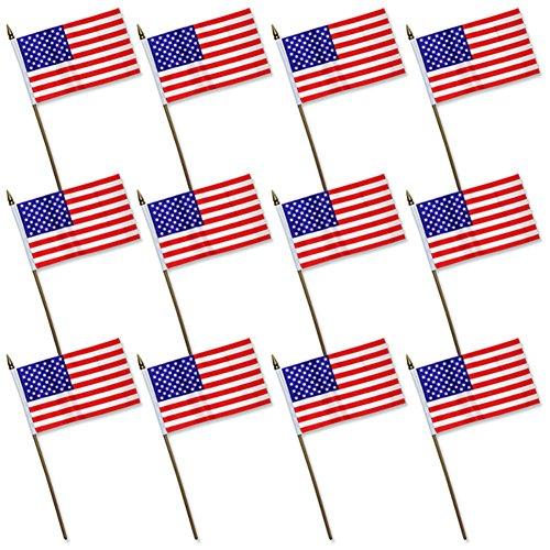 7685aa288d18 12x Mini American U.S. US Flag on Plastic Sticks