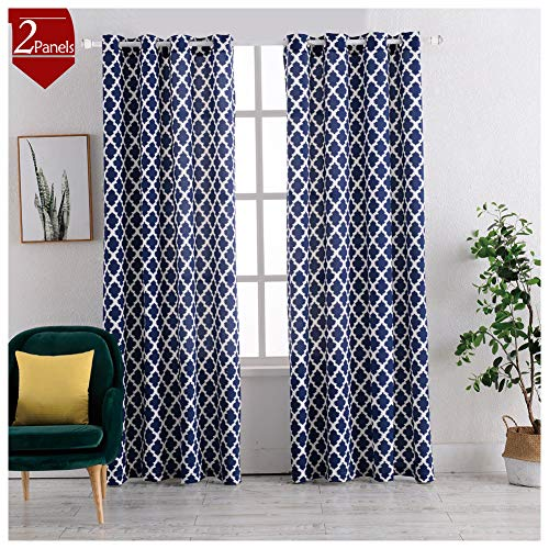 (Heavy texture Cotton Blend Moroccan Tile Print Curtains Window Treatments for Bedroom Window Drapes Quatrefoil Linen look Curtains for Living Room Curtain, 63