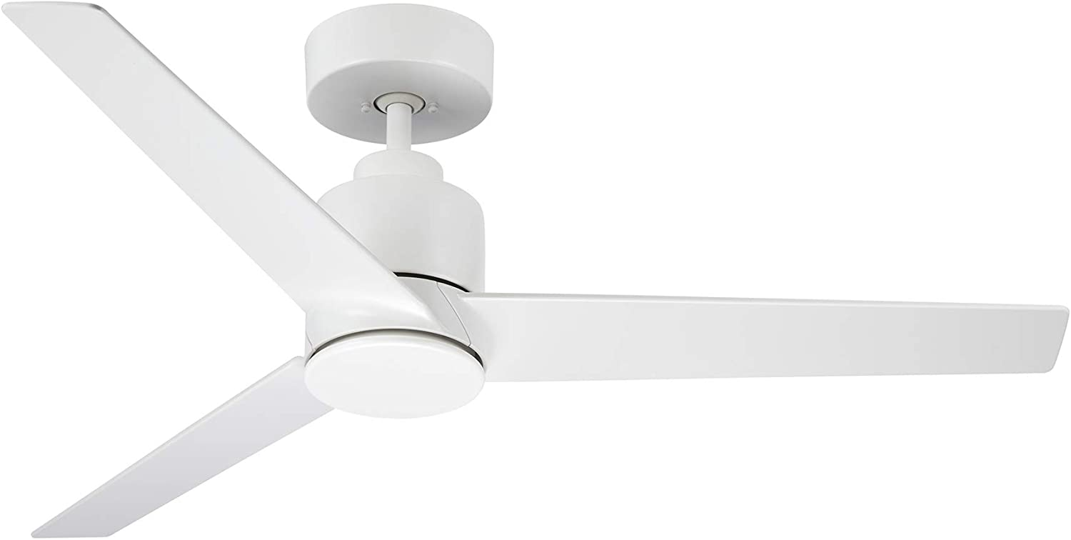 Kathy Ireland Home Arlo Outdoor Ceiling Fan with Remote Control, 44 Inch | Modern Metal Fixture, Wet Rated with Weather-Resistant Blades | Semi Flush Downrod Mount | Light Kit Adaptable, Satin White