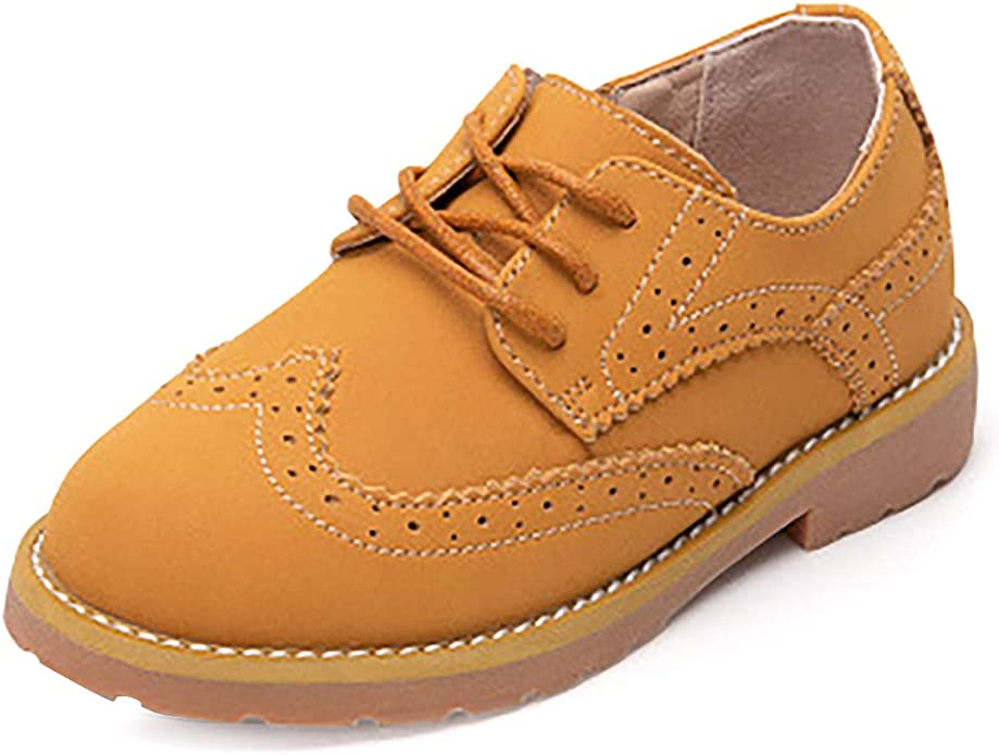 Minibella Boys Casual Brogue Dress Oxfords Lace Up Side Zipper School Uniform Outdoor Shoes