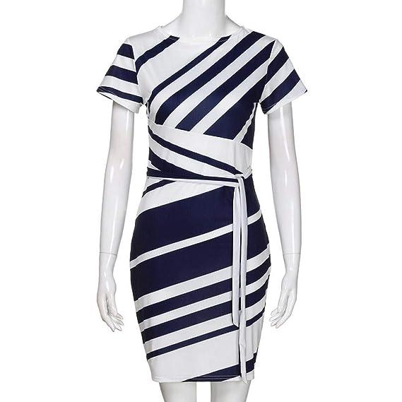 POLP Mujeres Vestido ◉ω◉ Vestido Mujer Verano Mini Vestido Casual de A Rayas Impresión