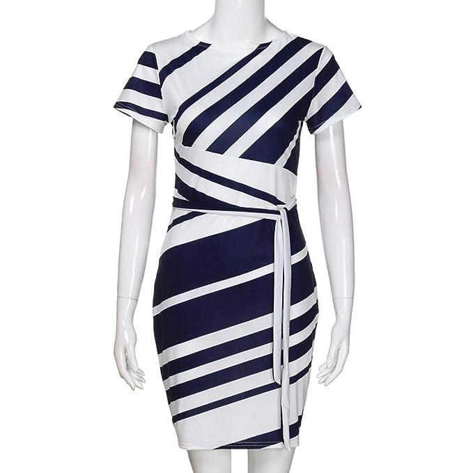 POLP Mujeres Vestido ◉ω◉ Vestido Mujer Verano Mini Vestido Casual de A Rayas Impresión Retro de Mujeres Vestido Niña Vestido de Fiesta Vestir Ropa Falda ...