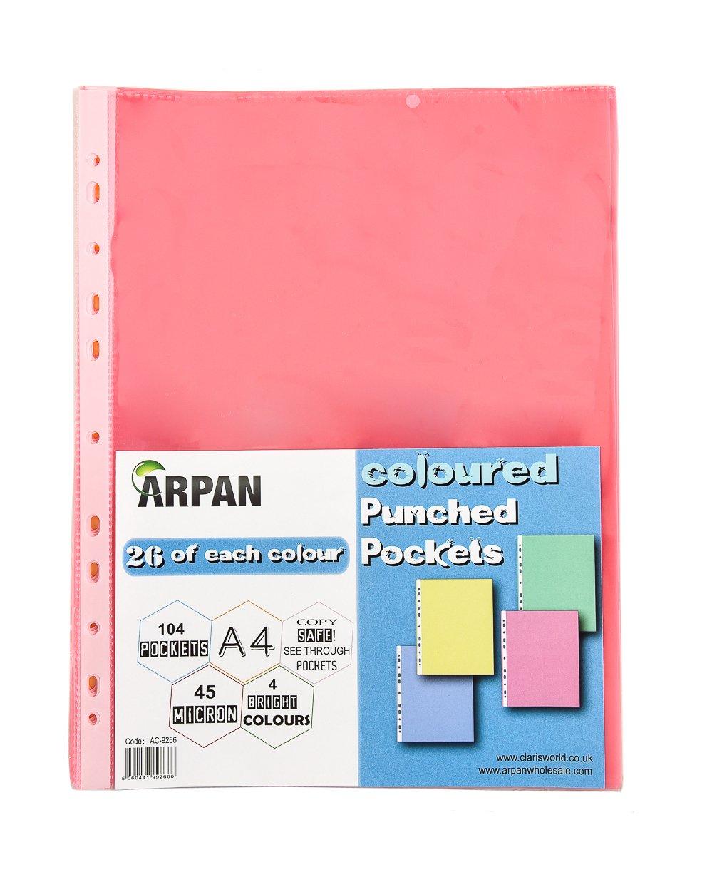 A4 Multi coloured Buste formato A4 in plastica resistente finitura trasparente perforate apertura in alto