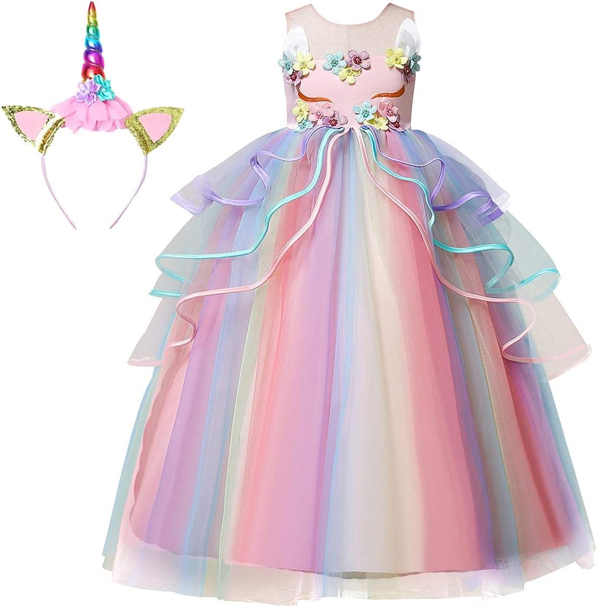 Soyoekbt Girls Unicorn Costume for Kids Dress Up Clothes Unicorn Tutu with Headband Birthday Gift