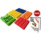 5 Lego Candy Molds / Ice Cube Silicone Trays + Bonus Recipe Guide eBook For Chocolate, Gummies & More