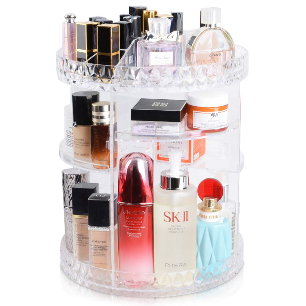 InnSweet Makeup Organizer, 360-Degree Rotating Cosmetic Storage Shelf, Adjustable Multi-Function Makeup Storage Rack with 8 Layers Large Capacity, Acrylic Transparent