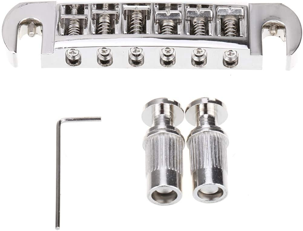 Chrome Musiclily Pro 52.5mm Pigtail Style Tune-o-matic Wraparound Adjustable Bridge for Les Paul Electric Guitar