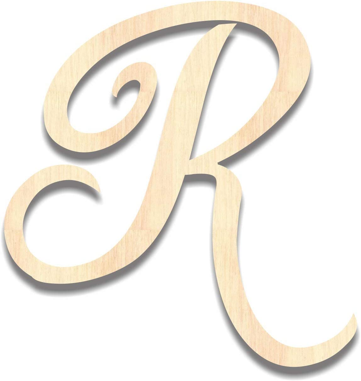 Back40Life - Precision Cut Wood Brush Calligraphy Script Monogram Letter - R Medium