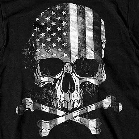 Hot Leathers Mens Flag Skull T-Shirt Black XX-Large