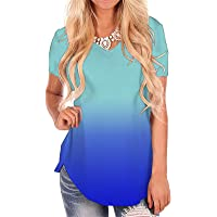 2e6cfb8b5 onlypuff Womens Tops V Neck Short Sleeve Tunic Casual T Shirts Loose Blouse