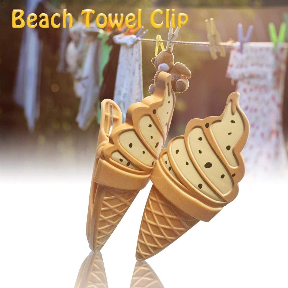 Playa Toalla Clips Clip De Toalla De Playa Fuerte Clips Pl/ástico Pinza De La Ropa Ideal Para Tumbonas Tumbonas Lavander/ía Y M/ás Helado Creativo En Forma 13.5X6X5.6cm Pinzas // Clavijas Tumbonas