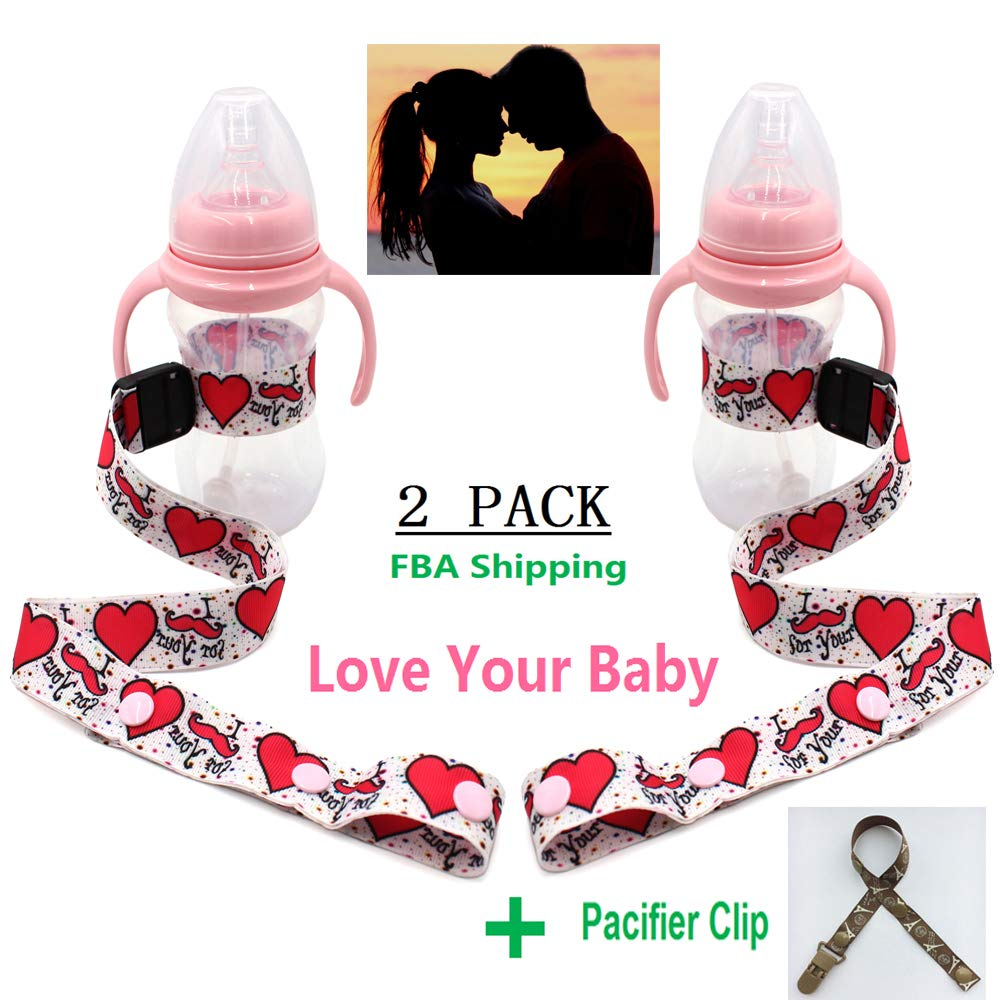 Travel Bottle Holder 2 Pack + 1 Pacifier Clip Stroller Toy Clips and Seat Universal Attachment Strap Baby Sippy Cup Strap Multipurpose Adjustable Cup Strap