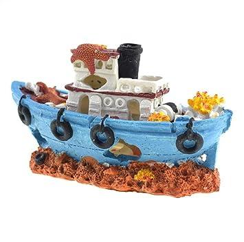 ZHJZ Ornamento del Barco Pirata del Acuario con Coral Satrfish Octopus Shipwreck Barco Roto para Fish Tank Landscape Decoration Decoración del Paisaje del ...