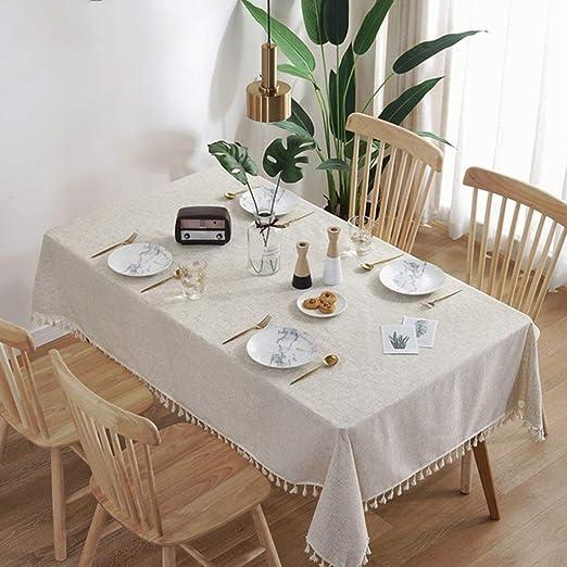 Skkyer Tabla de Encaje Rectangular manteles Blancos con Flecos de Tela Lavable, Cuadros manteles, Cubierta de Mesa de la Cocina for Banquetes, Eventos, Decoración (Color : A, Size : 120 * 120cm): Amazon.es: Hogar