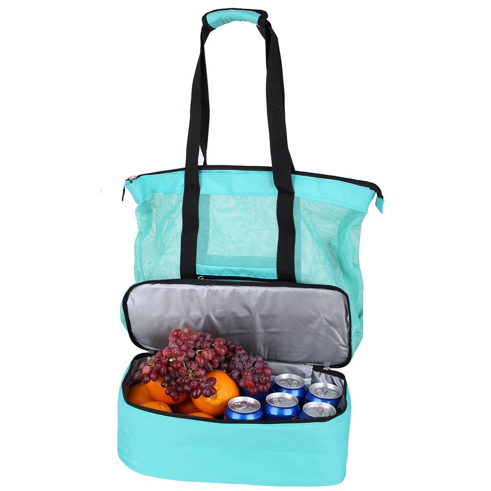 Mesh Beach Tote Bag Zippers Top Insulated Picnic Cooler Large Travel Bag