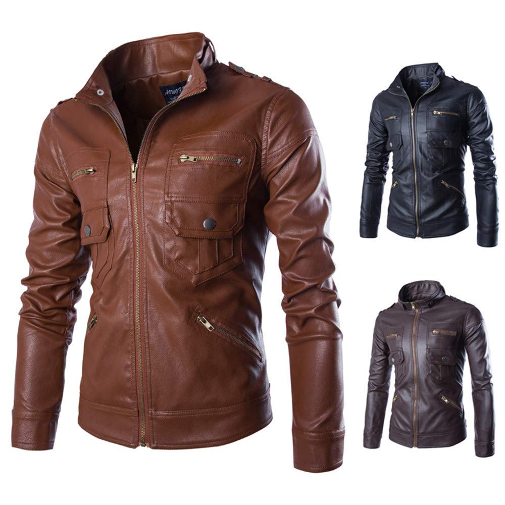 Mens Flight Suit,Mens Winter Solid Stand Motorcycle PU Leather Coat Top,Jacket Leather Men