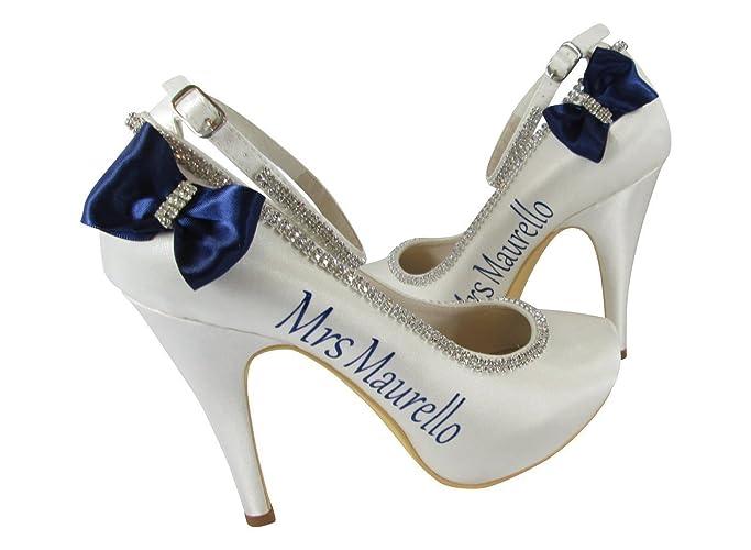 163fec9521fd19 Amazon.com  Navy Satin Bow Bridal Heels with Rhinestone Bling and Wedding  Name  Handmade