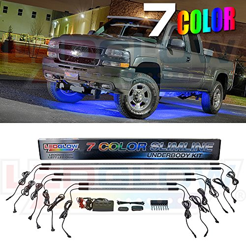 Ground Effects Kit (LEDGlow 6pc Multi-Color Slimline LED Truck Underbody Underglow Light Kit - Durable Waterproof Light Tubes - Includes Wireless Remote)