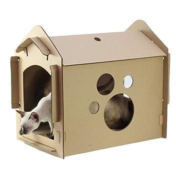 Yuncai Cartón Corrugado de Rascador Gato Casa DIY Montado Casas para Gato Como la imagen: Amazon.es: Hogar