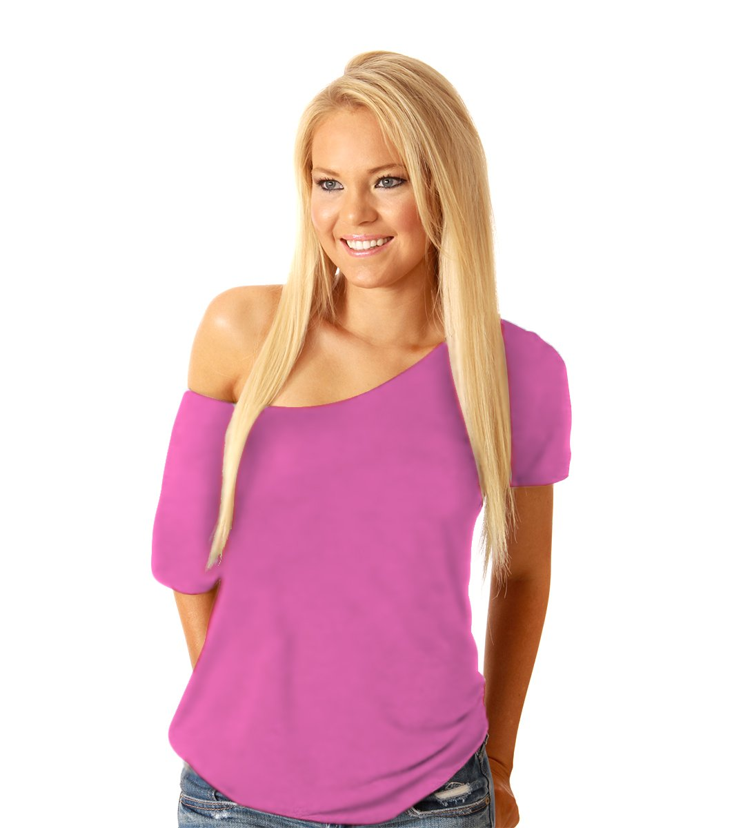 Women's Sexy Loose Short Sleeve Off Shoulder Casual Blouse Top Shirt, PINK, SMALL