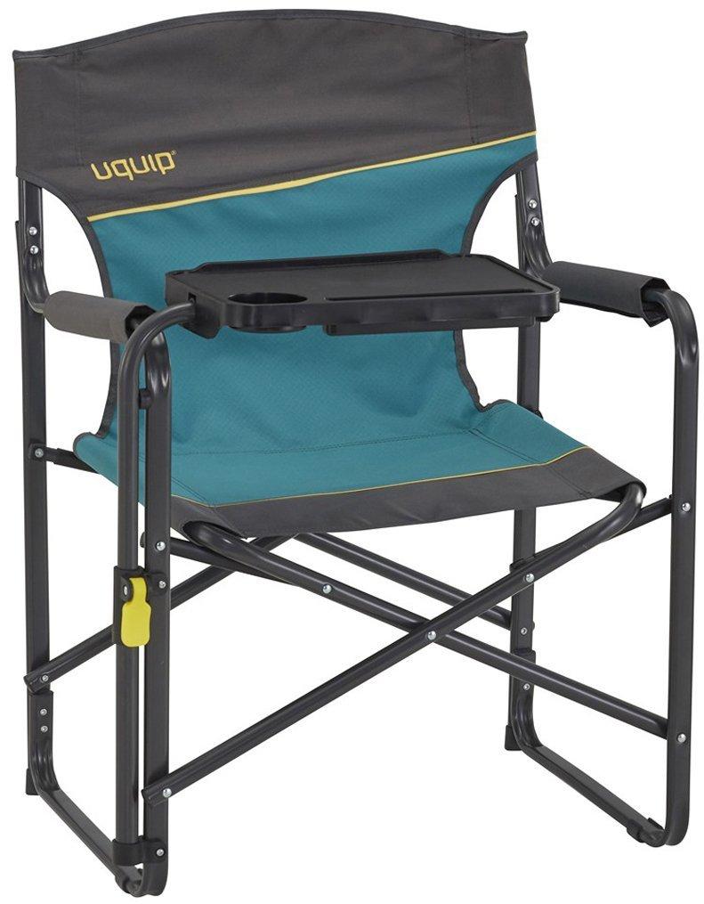 Uquip Regiestuhl Woody - Campingstuhl mit Tisch, Tablethalterung und Getränkehalter