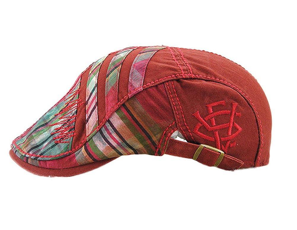 Nanxson Mens Colored Twill Plaid Beret Flat Cap Newsboy Hat MZM0072