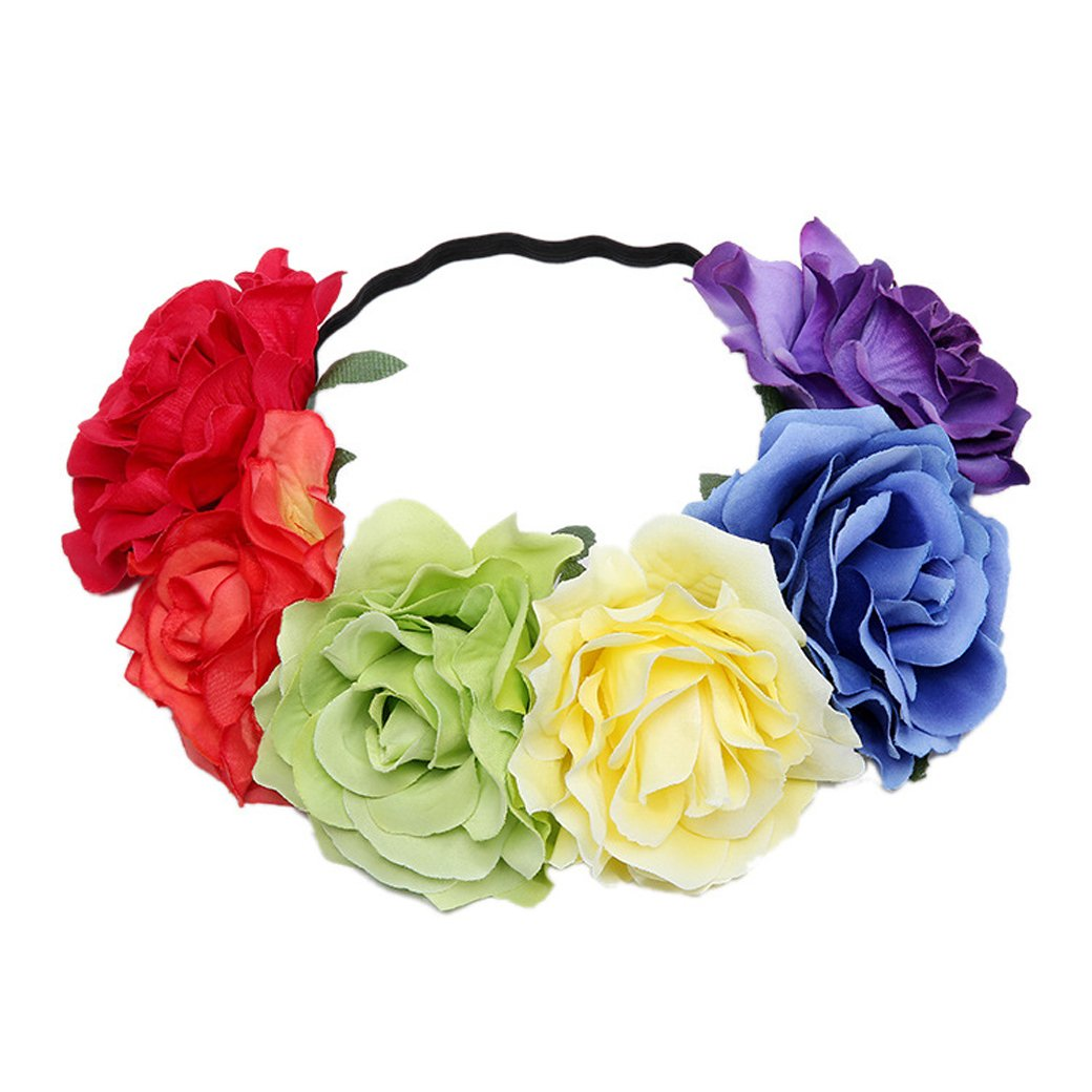 Lujuny Big Rose Flower Crown Headband - Floral Garland for Baby Shower Wedding Birthday Party Beach Photoshoot (Rainbow Headband 2)